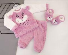 Плюшевий комплект-трійка для дівчинки (білий з рожевим), Necix's 4658