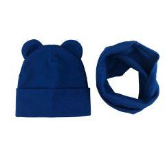 """Набір """"Міша"""" для дитини (шапочка і хомут), темно-синій, Talvi 01102"""