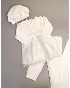 Святковий велюровий комплект для дівчинки (молочний), Little Angel 11037