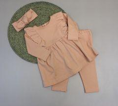 Трикотажний комплект для дівчинки з мікроначосом (світло-рожевий), Little Angel 113