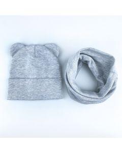 """Набір """"Міша"""" для дитини (шапочка і хомут), сірий, Talvi 01102"""