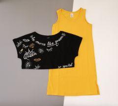 Трикотажний комплект для дівчинки (жовтий з чорним), К15СК100