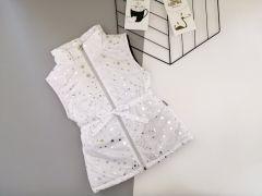 Стильный жилет для девочки (белый с серебряным принтом), Boni 190
