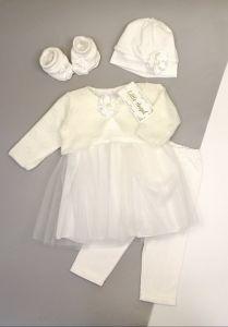 Святковий трикотажний комплект для дівчинки (молочний), Little Angel 11009/11025