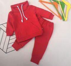 Трикотажний комплект з флісовою байкою для дівчинки (червоний), КЗТФ144
