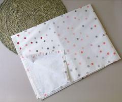 Пеленка непромокаюча, біла (горошок сірий з червоним), 10885