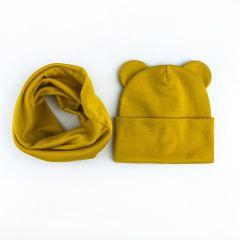 """Набір """"Міша"""" для дитини (шапочка і хомут), жовтий, Talvi 01102"""