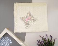 Вязаное крижмо для ребенка Бабочка (айвори), Minilori Baby 476