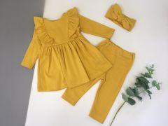 Трикотажний комплект для дівчинки з легким начосом (жовтий), Little Angel 113