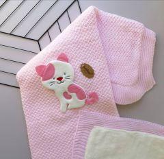 """М'який в'язаний плед """"Котик"""" з плюшем (рожевий), Bebikan 7009-1"""