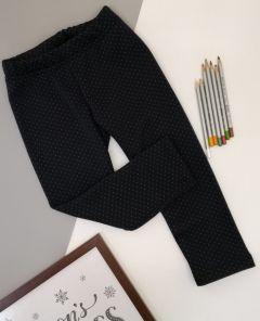 Трикотажні лосини з плюшевою підкладкою для дівчинки (темно-сині в горошок), Ля-ля 10ТФ122