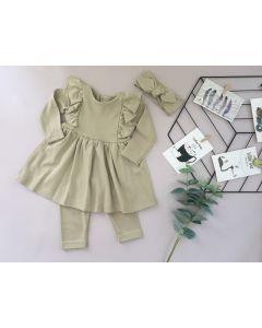 Трикотажний комплект з мікроначосом для дівчинки (сіро-бежевий), Little Angel 113