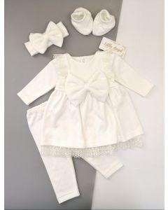 Святковий комплект на байці для дівчинки (молочний), Little Angel 11301/11303