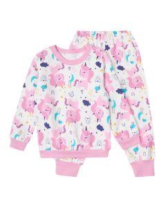 Трикотажна піжама з начосом всередині (біла з рожевим), КЗФТ152