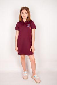 Плаття-поло для дівчинки (марсал), a-05-1404-77B-v