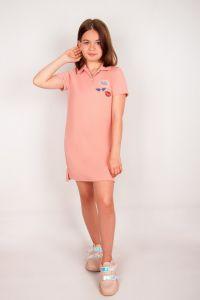 Плаття-поло для дівчинки (рожева пудра), a-05-1404-77B-v