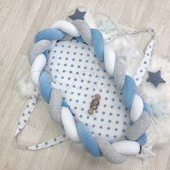Кокон-бортик-коса Маленька Соня 9100242 (сіро-блакитний)