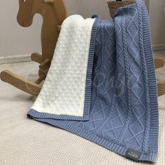 """В'язаний плед з плюшевою підкладкою """"Коса/Ромб"""" (блакитний), 935207"""