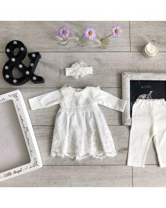 Святковий трикотажний  комплект для дівчинки (айворі), Little Angel 10916/10636