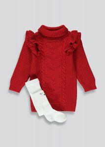 Теплий комплект (плаття і колготки) для дівчинки