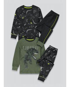 Трикотажна піжама для хлопчика 1шт. (реглан кольору хакі і чорні штани)