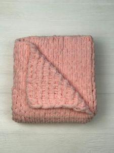"""В'язаний дитячий плед """"PUFFI""""  (рожевий)  97 х 104 см"""