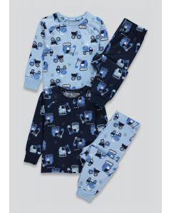 Трикотажна піжама для хлопчика 1шт. (темно-синя з принтом)
