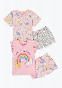 Піжама для дівчинки 1шт. (рожеві футболка і шорти з принтом тваринок)