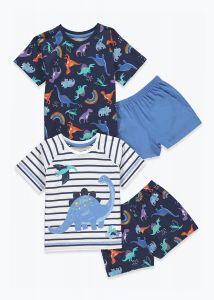 Піжама для хлопчика 1шт.(смугаста футболка та блакитні шорти)