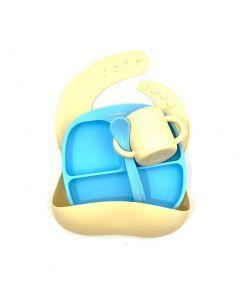 Набір силіконового дитячого посуду, Баловень (блакитний/жовтий)