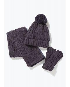 Комплект-трійка (шапка, шарф, рукавиці) (темно-синій)