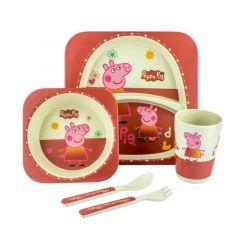 """Набір дитячого посуду з бамбукового волокна """"Peppa Pig"""" (5 ел.), Bamboo"""