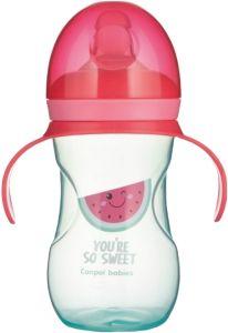 Поильник тренировочный с силиконовым носиком (270 мл), Canpol Babies 57/304 (розовая)