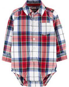Коттоновая рубашка-боди для мальчика
