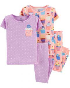 Трикотажная пижама для девочки 1 шт. (персиковая с принтом)