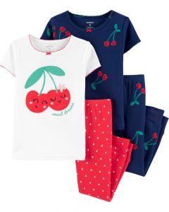 Трикотажна піжама для дівчинки 1 шт. (біла футболка з червоними штанами)