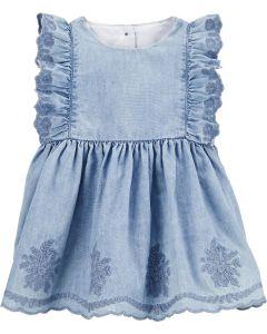 Сукня з тканини шамбре і трикотажні трусики для дівчинки