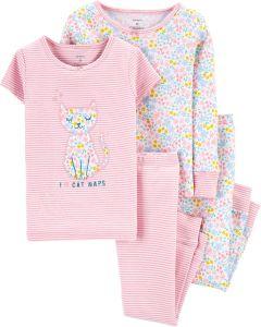 Трикотажна піжама для дівчинки 1 шт. (біла з квітковим принтом)