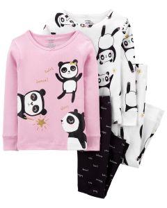 Трикотажна піжама для дівчинки 1 шт. (рожевий реглан та чорні штанята)
