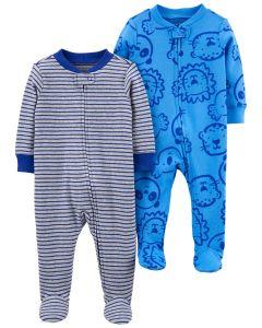 Трикотажний чоловічок з закритими стопами для дитини 1шт.(синій з принтом)