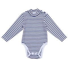 Трикотажний боді-гольф для малюка (темно-синя смужка), 2015803