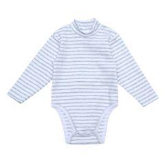Трикотажний боді-гольф для малюка (сіра смужка), 2015803