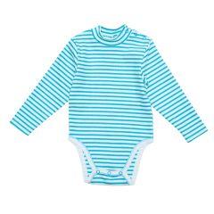 Трикотажний боді-гольф для малюка (бірюзова смужка), 2015803