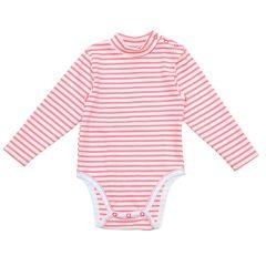 Трикотажний боді-гольф для малюка (рожева смужка), 2015803