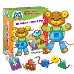 Розвиваюча гра «Ґудзики-шнурочки. Ведмедик », Vladi Toys VT1307-10