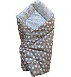 Ситцевий конверт-ковдра для новонароджених (сіро-блакитний), BODIK