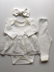 Святковий трикотажний  комплект для дівчинки (айворі), Little Angel 11500