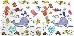 Антислизький килимок для ванни Lindo LN-8666 (морський світ,білий)