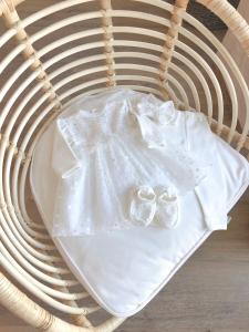 Святковий трикотажний комплект для хрещення для дівчинки (білий), 11662
