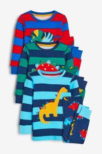 Пижама для ребенка 1шт. (реглан в голубую полоску и синие штаны)